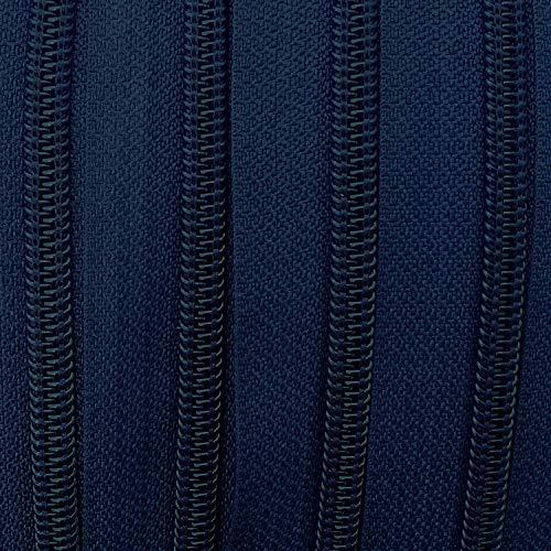 Endlos-Reißverschluss 5 mm dunkelblau - 7 m Meterware mit 21 Zippern - Farbe 023