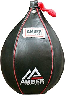 Amber Fight Gear Genuine Leather Speed Bag Heavy Duty Leather Hanging Punch Ball for MMA Muay Thai Training Punching Dodge Striking Bag Reflex Boxing Ball in Various Sizes