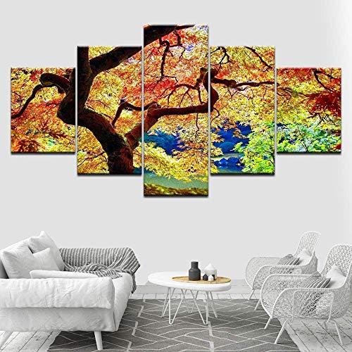DGGDVP Japanse esdoorn 5 stuks muurkunst canvasdruk moderne poster modulaire kunst schilderij voor woonkamer wooncultuur 40x60cmx2,40x80cmx2,40x100cmx1 Geen frame.