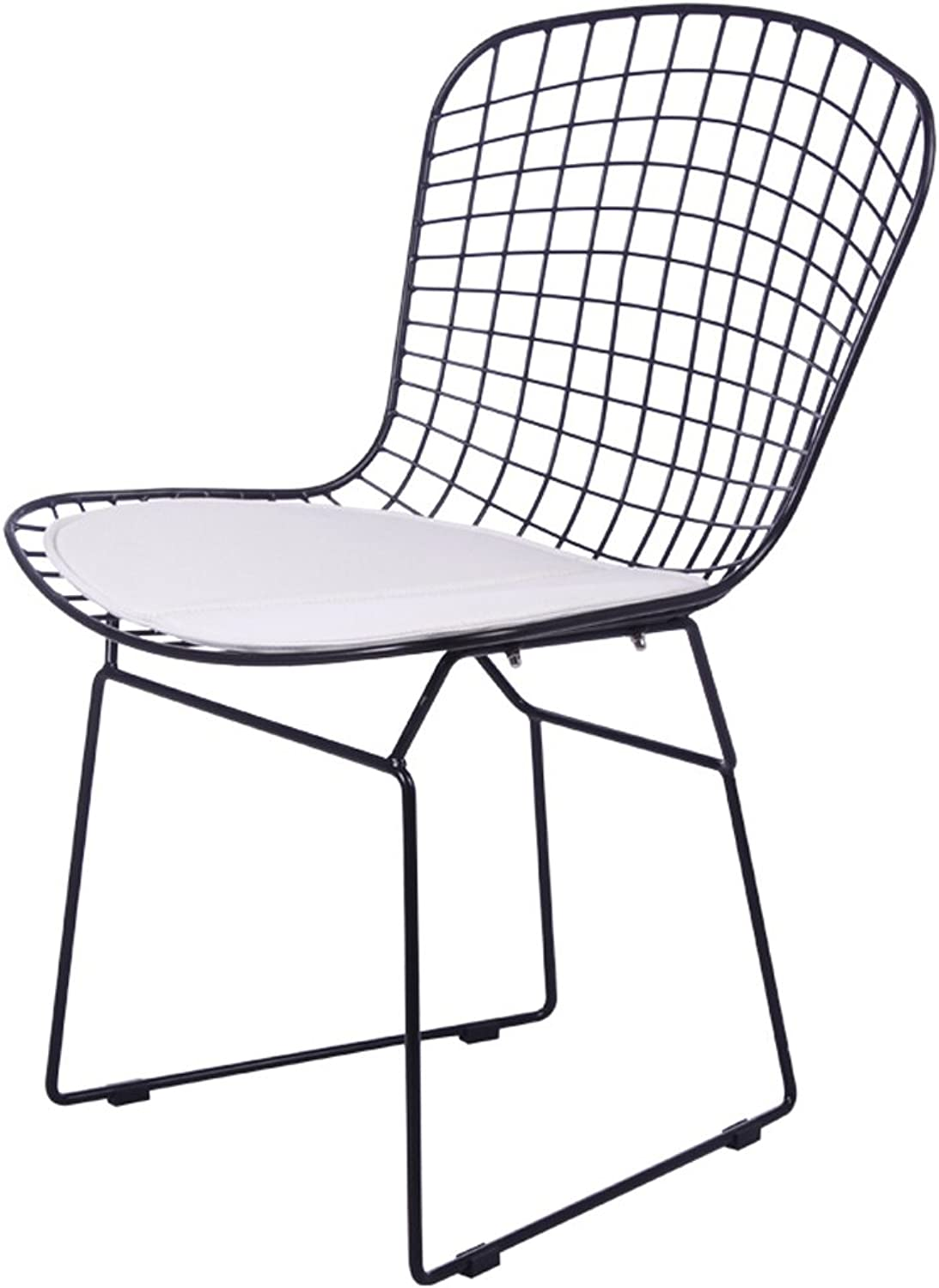 JJJJD Openwork Iron Wire Chair backrest Outdoor Chair Modern Leisure Chair Dining Table Chair Conference Chair European Style Simple Hollow Iron Chair (color   White pad)