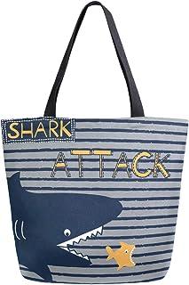 Mnsruu Mnsruu Handtasche aus Segeltuch, für Damen, mit Griff, Einkaufstasche, Crossbody-Tasche, Cartoon-Haifischang-Streifen, Marineblau