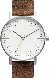 B001 Minimalist Brown Leather Stainless Steel Swiss Quartz Analog Unisex Watch, Clean Simple Causal Vintage Design