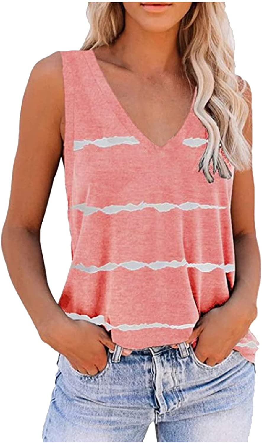 Fankle Womens Tank Tops Sleeveless Tie Dye Scoop Neck Loose Fit Summer Women Top Cami Shirts