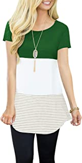 Womens Tops Short Sleeve Shirts Color Block Striped Casual Blouses Green Small
