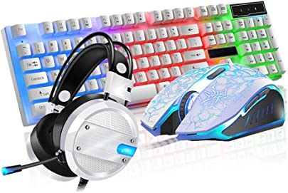 BLWX Game Backlight Light Echte Mechanik Tastatur-Maus-Headset-Set Kabelgebundenes Internet-Caf  Peripherieger t USB-Schnittstelle Tastatur Cool Light Effect 104 Key Tastatur  Farbe J