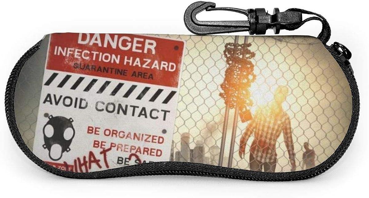 Zombies Dead Man Walking Sunglasses Soft Case Ultra Light Neoprene Zipper Eyeglass Case With Key Chain