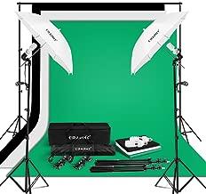 CRAPHY Photo Studio Umbrella Lighting Kit 1250W 5500K Photography Daylight Umbrella with Muslin Backdrop Kits(9x6FT White Black Green),Background Stand Kit(10x6.5FT)