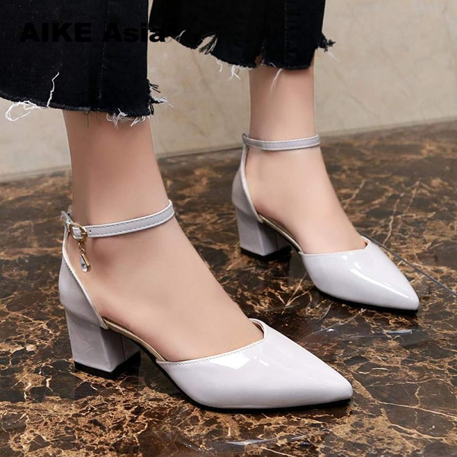 UKJSNHH igh Heels Plus Size 33-43 Dress shoes Boat Wedding Summer Women Pointed Toe Pumps Side with Pearl Extreme High Heels
