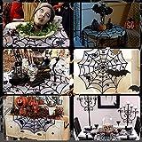 DECARETA Halloween Tischdecke Rund Schwarz Spinnennetz Spinnweben 102 cm Durchmesser Halloween Tischdeko Spinnen Netz für Karneval Halloween Party Dekoration - 5