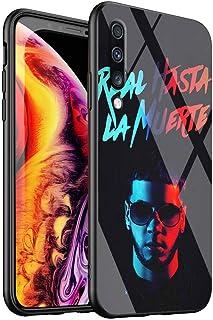 Funda para Samsung Galaxy A50, Cubierta Posterior de Vidrio Templado y Marco de Silicona Suave DT-2 Anuel AA Real hasta La Muerte