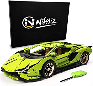 Nifeliz Racing Car SAI MOC Building Blocks and Engineering Toy, Adult Collectible Model Cars Set to Build, 1:8 Scale Green Race Car Model (3868 Pcs) (Green)