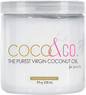 COCO & CO. Organic Pure Extra Virgin Coconut Oil for Hair & Skin, Beauty Grade (8 Fl Oz)