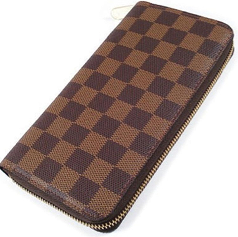 Bushels Handbags Inspired Women's Purse Designer Brown Grid Pu Leather Ladie's Wallet