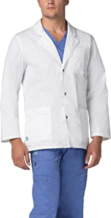 Adar Pop-Stretch Lab Coat for Men - Snap Front Lab Coat