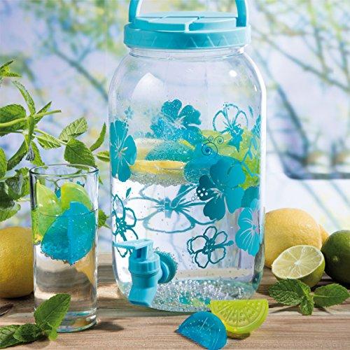 Wedestock Fontaine, Distributeur de Boisson 3,5L en Plastique avec Robinet et 20 glacons réutilisables Coloris Bleu