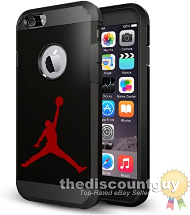 f8d9c90ee33 iPhone 7 - Dual Layer Apple Logo Window Display Michael Jordan Case with  Shockproof Rugged Durable