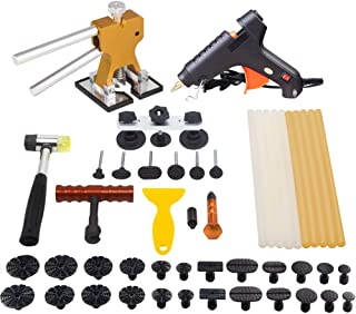 Mookis Paintless Dent Repair Tools Kit- Dent Removal Tools 41PCS with Golden Dent Lifter + Pops a Dent Bridge Dent Puller Kit + Tap Down Tools Rubber Hammer+ Glue Sticks[Glue Gun Included]