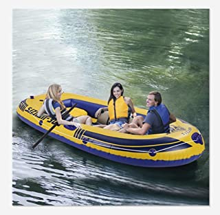 8-Feet Inflatable Boat for Adults, Portable Boat Raft for 3 Person Water Touring, Foldable Dinghy Float for Boating Fishing Hunting or Playing on Lakes Rivers and White Water Rapids