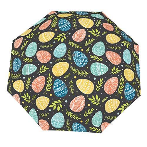 Paraguas plegable de Pascua (2) patrón de estilo europeo con efecto UV, bloqueo de la infiltración del agua de lluvia, fácil de sostener, el mejor regalo para Navidad, White (Blanco) - [pmcc]78213