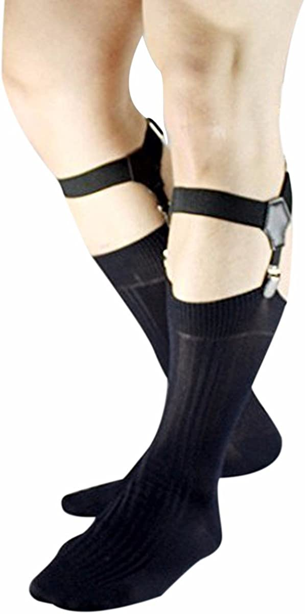 FEESHOW Adjustable Men's Sock Garter Belt Grips Suspender with Metal Clips