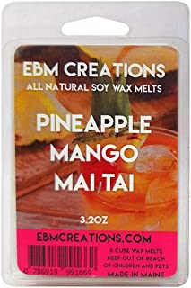 Pineapple Mango Mai Tai - Scented All Natural Soy Wax Melts - 6 Cube Clamshell 3.2oz Highly Scented!