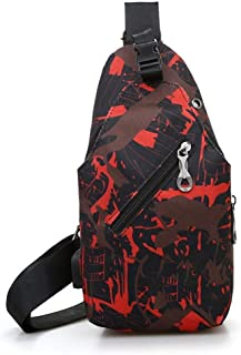 Big Capacity Canvas Durable Wear Resistant Messenger Shoulder Bag, Camouflage with Headphone Jack USB Crossbody Chest Bag Riding Bag Hiking (Color : Red)