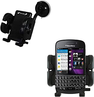 Gomadic Brand Flexible Car Auto Windshield Holder Mount designed for the Blackberry Q10 - Gooseneck Suction Cup Style Cradle