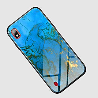 Suhctuptx Compatible for Samsung Galaxy A50 Case Clear Hard Tempered Glass Back Skin Protector Glitter Bling Slim Thin Soft TPU Silicone Bumper Shockproof Protection Cover Girls(Marvel Blue)