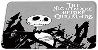 Nightmare Before Christmas Theme Coral Velvet Bath Rugs Non Slip Shower Mat for Bathroom Decor Sets Door Rug with Rubber Backing Absorbent Kitchen Floor Carpet 17 x 24 inches Black and White