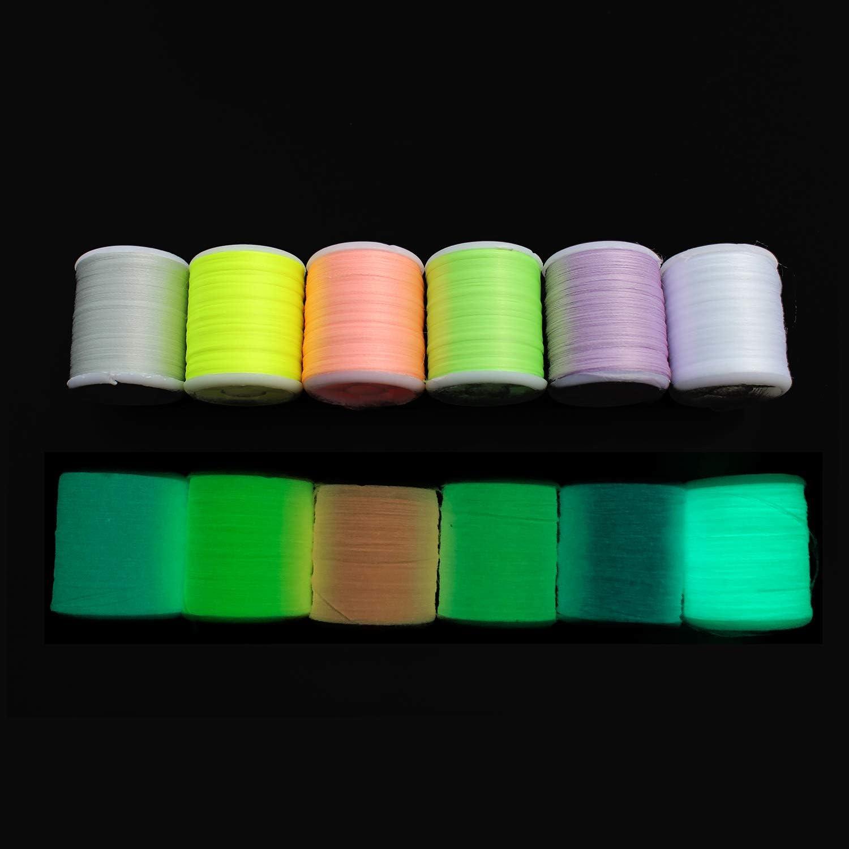 150D Denier 40 m leuchtet im Dunkeln Polyester-Filament Garnschnur. Tigofly 6 Farben leuchtendes Fliegenbindegarn
