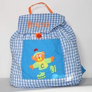 Bolsa mochila oso patinador, en tela vichy cuadros azules y blancos, personalizada con nombre. /31x26x13 cm. aproximadamente/