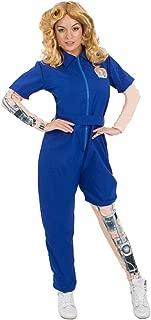 Womens Bionic Woman Mechanical Jumpsuit Superhero Fancy Dress Costume Blue