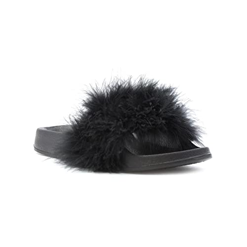 88d0394a1a05 Lilley Womens Black Feather Slip On Slider