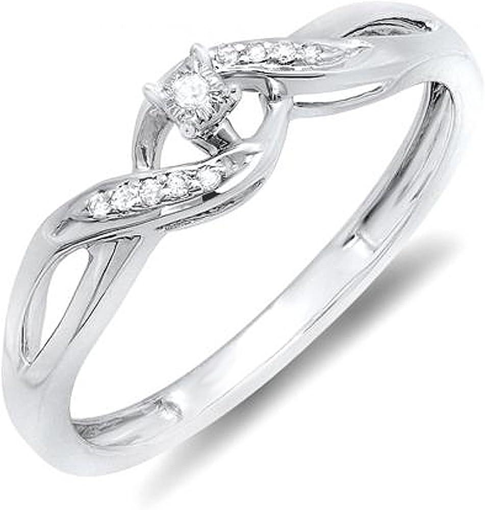 Dazzlingrock Collection 0.06 Carat ctw San Antonio Mall 70% OFF Outlet Diamond Cr Round Ladies