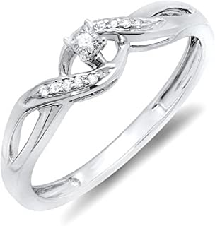 0.06 Carat (ctw) Round Diamond Ladies Crossover Swirl Bridal Promise Engagement Ring, Sterling Silver