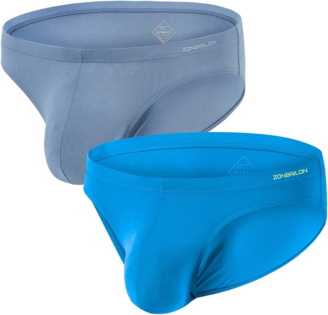 ZONBAILON Men's Bamboo Stretch & Lightweight Low-Rise Hip Briefs With No Fly