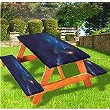 Sky - Mantel ajustable para mesa de picnic y banco, con borde elástico, 28 x 72 pulgadas, juego de 3 piezas para camping, comedor, exterior, parque, patio
