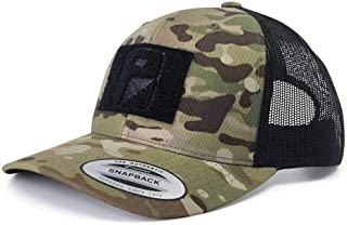Pull Patch Tactical Hat | Authentic Snapback Multicam Curved Bill Trucker Cap | 2x3 in Hook and Loop Surface to Attach Morale Patches | 6 Panel | Camo and Black | Free US Flag Patch Included