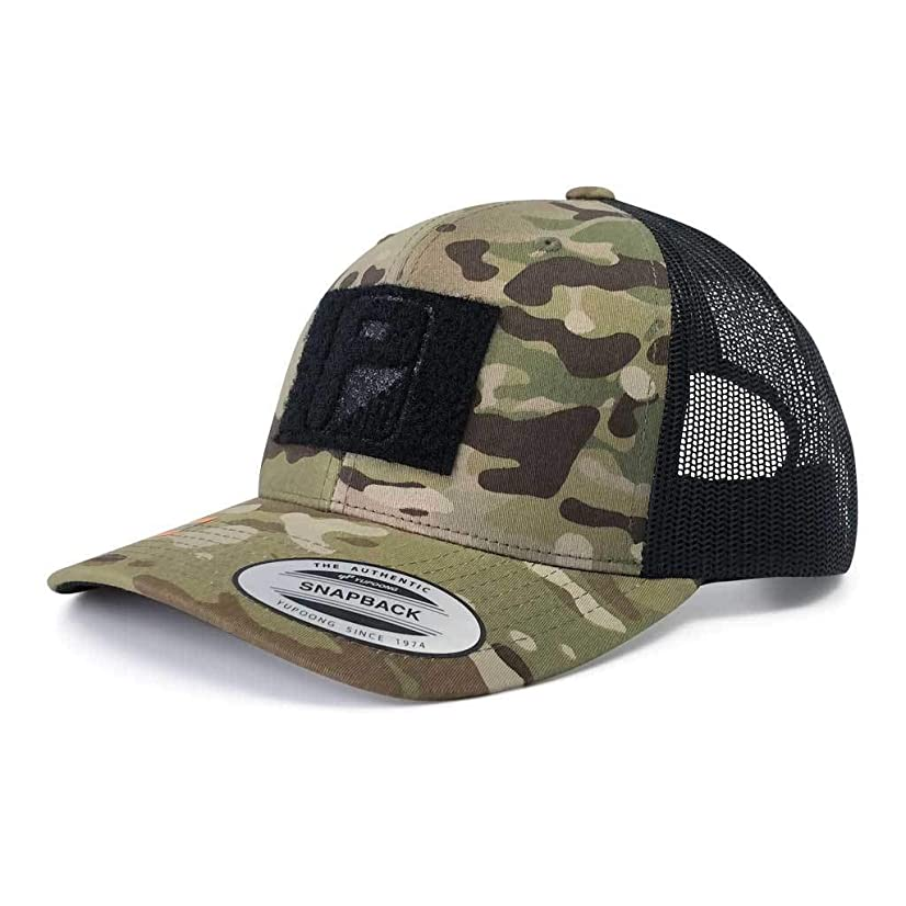 Pull Patch Tactical Hat Authentic Multicam Camo Snapback, Camo And Black Trucker Round Bill Baseball Cap, Hook & Loop Fastener With FREE US Flag Patch