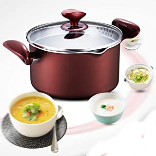 Aluminum Alloy Stockpot, Soup Pot with Lid and Capacity Scale, Suitable for Stoves, Gas, Induction Cookers, Nonstick, Dishwasher Safe, Red Wine