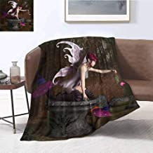 Luoiaax Fairy Commercial Grade Printed Blanket Three Dimensional Mythical Creature Design with Magical Artifact on Pedestal Forest Queen King W70 x L84 Inch Multicolor