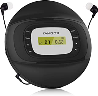 FANGOR Portable CD Player with Headphones, Rechargeable Personal Compact Disc Player with Anti-Skip/Anti-Shock and Memory ...