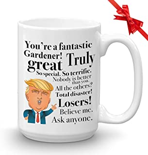 Donald Trump Coffee Mug - 15 Oz Novelty Cup Gift For Gardener Florist Grower Horticulturist Birthday Christmas Present President Republican