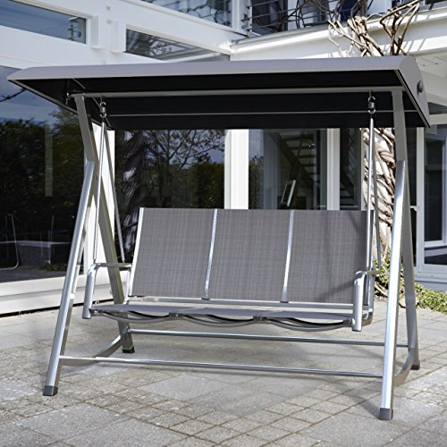 MWH Hollywood-Schaukel Swing Kedline Alu-Rahmen Silber Textilen Anthrazit 879314