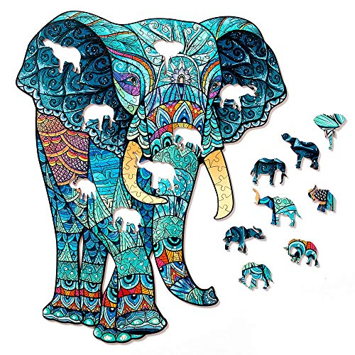 Elephant Wooden Jigsaw Puzzle 333 Pieces, 14 x 17.3 in (35.3 x 44 cm) with Unique Shapes for Adults...