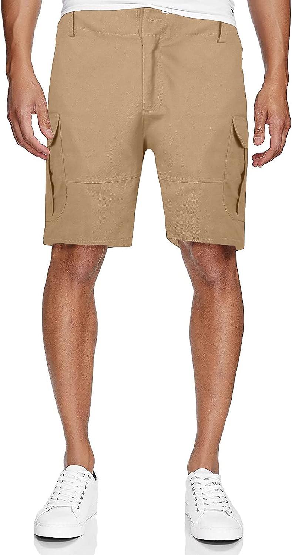 Azeralia Men's Casual Shorts Summer Fashion Men's Pocket Zipper Resilience Leisure Cargo Shorts Pants