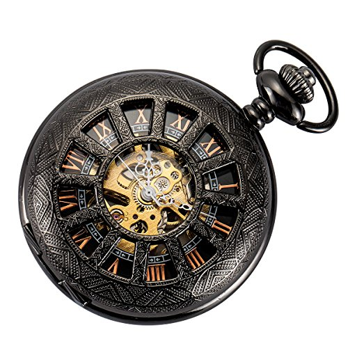 SIBOSUN Skeleton Pocket Watch Special 12-Little-Window Case Design Men Black Mechanical with Chain...