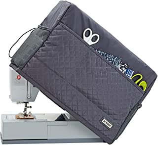 HOMEST Quilted Sewing Machine Dust Cover with Storage Pockets, Compatible with Most Standard Singer and Brother Machines, Dark Grey (Patent Pending)