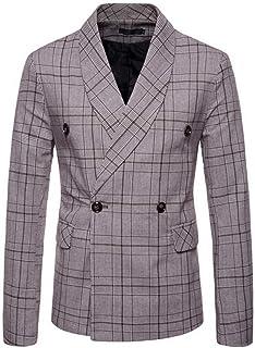 7903e2757a54 Mens Vintage Plaid Blazer Fashion Slim Fit Suit Jacket Double Breasted  Blazers