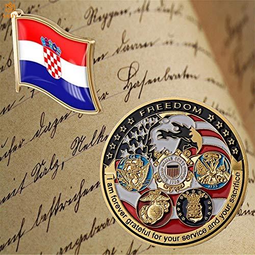 SFDGBTH US Marine Corps Batalla de Cinco ejércitos Lucha Militar Moneda de Recuerdo Croacia Moda Bandera Collar Corbata Broche de joyería de Metal Dorado Pin